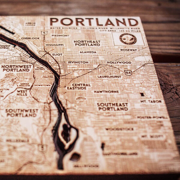 Portland OR Map Wood Chart