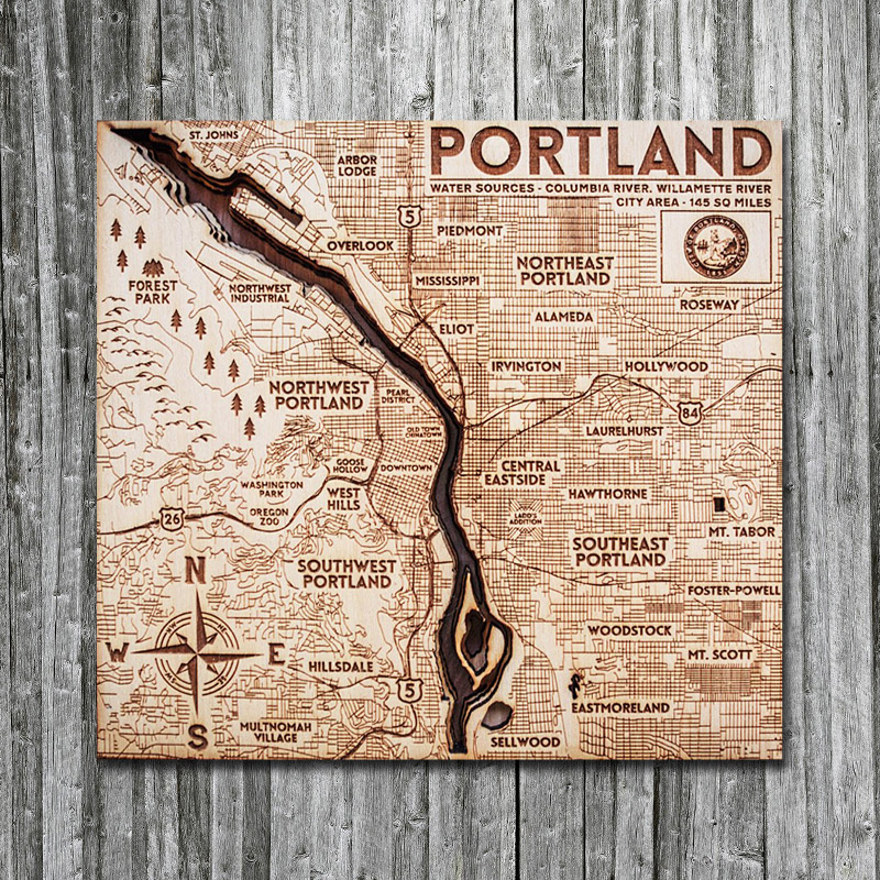 Portland OR Wooden Map for Sale