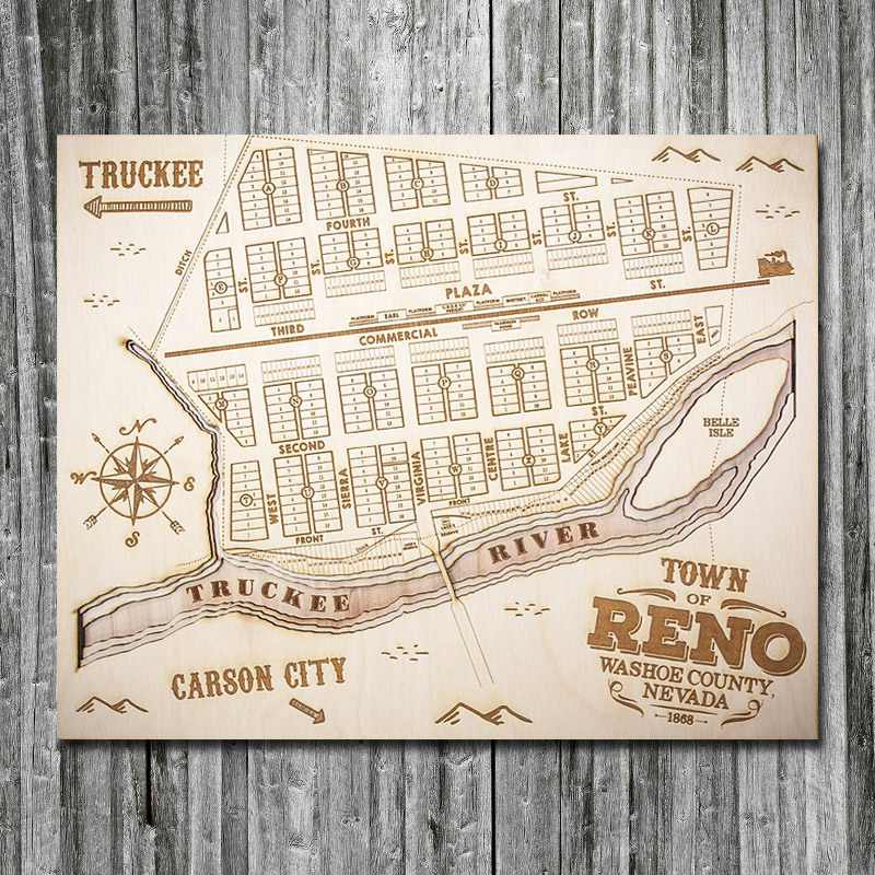 3D Wood Map of Reno