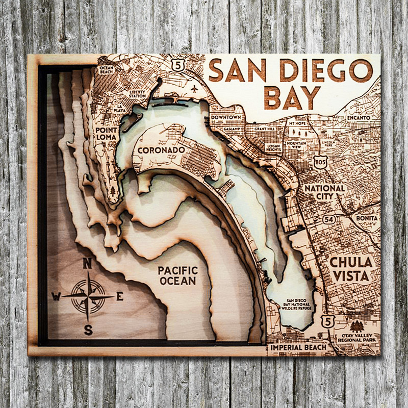 San Diego Wooden Map, 3D, Home Decor, Gifts