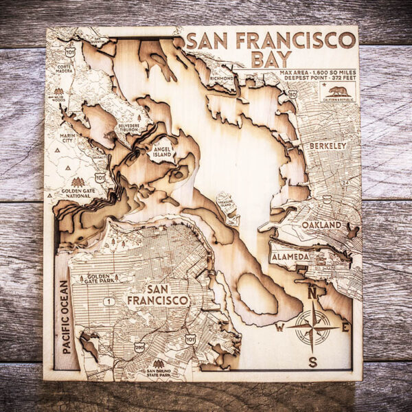 San Francisco laser-etched map