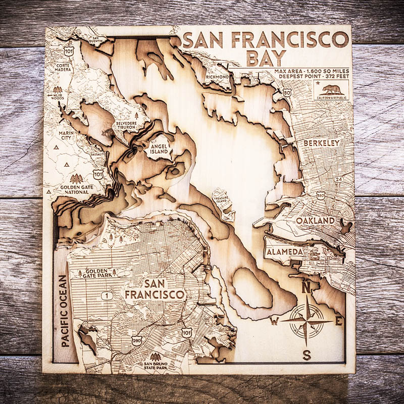 San Francisco Bay 3d wood map for sale
