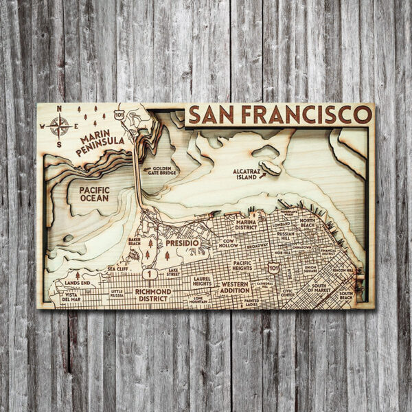 Wood Map of San Francisco Bay with Alcatraz