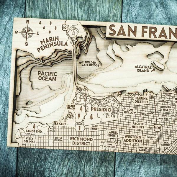 San Francisco laser carved map