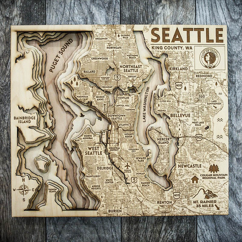 Seattle 3d laser cut map, puget sound