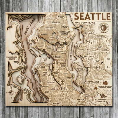 Seattle Puget Sound Wood Map