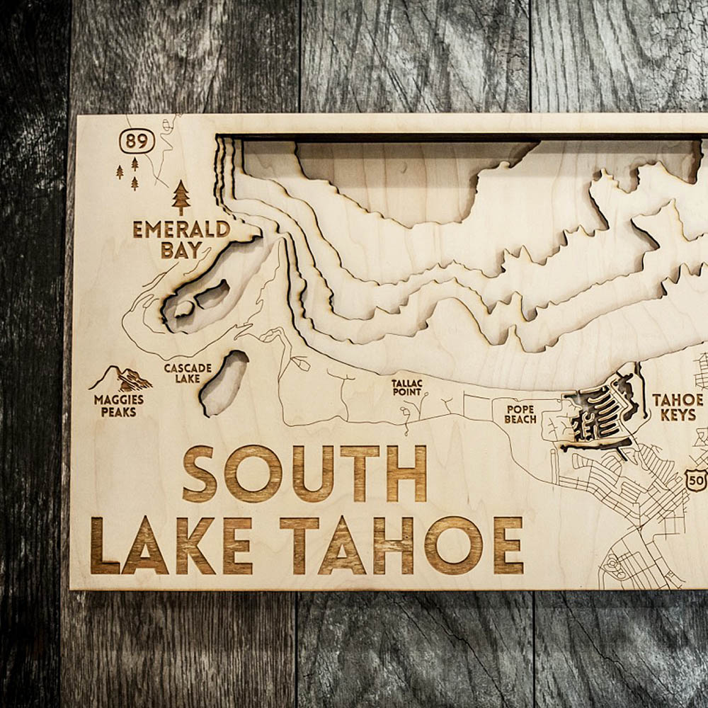 South Lake Tahoe Map, Stateline NV Lake Tahoe 3D Wood Map, Nautical Decor
