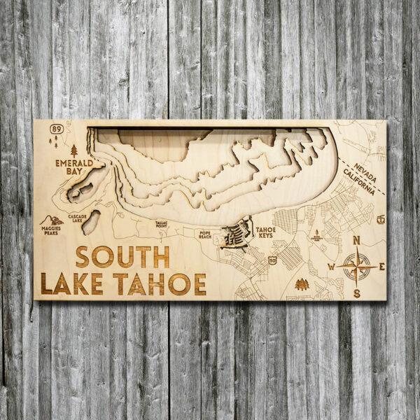 South Lake Tahoe Wood Map in 3D