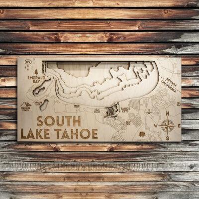 South Lake Tahoe 3D Wood Map