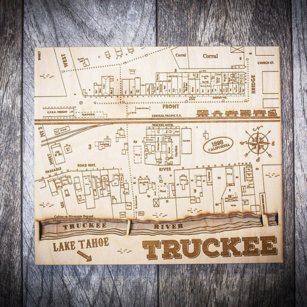 Truckee River 3D Wood Map, Home Decor