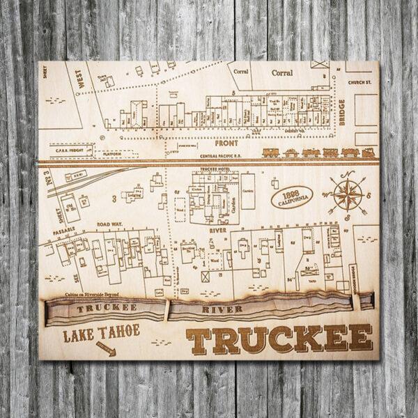 Wooden Map of Truckee CA in 3D