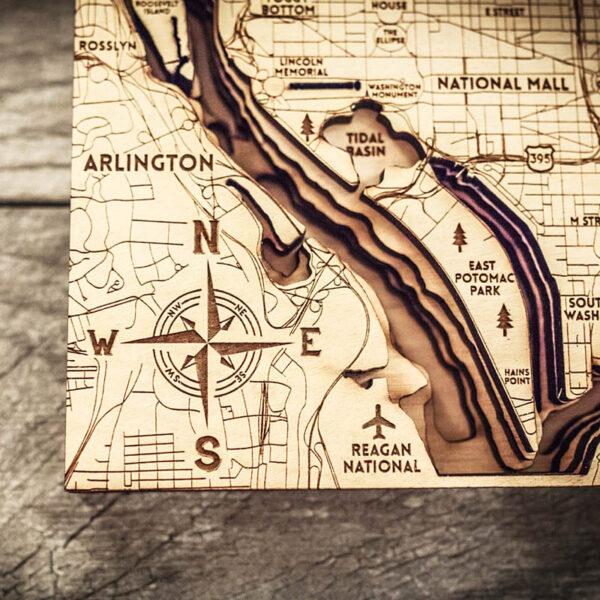 Washington DC Laser Carved Map
