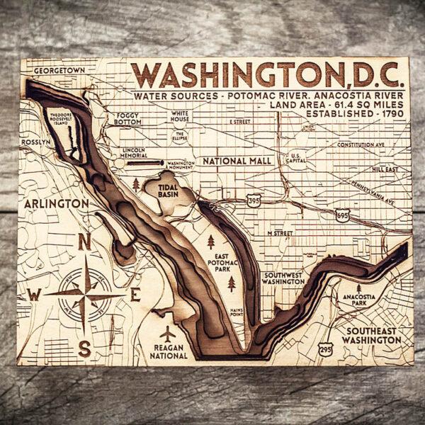 Washington DC wood Map