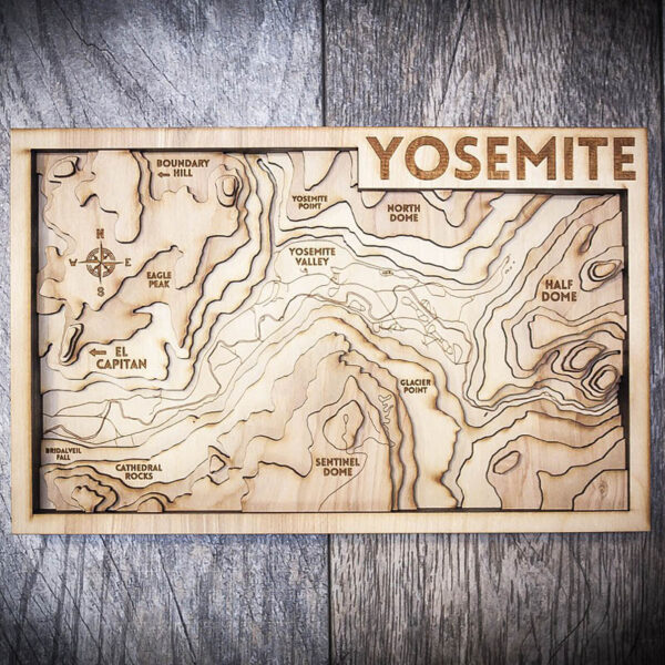 Yosemite Wooden Map, 3D Topographic Map
