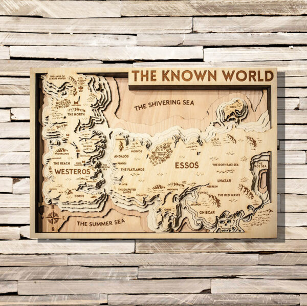 3D Wood Map of the Known World, Game of Thrones