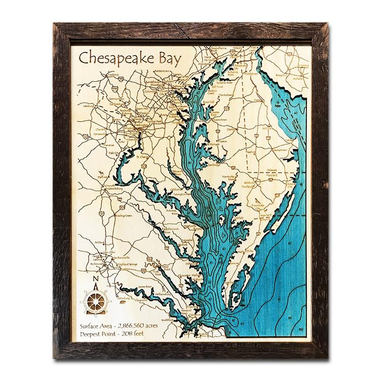 Chesapeake Bay Wood Map and Nautical Chart
