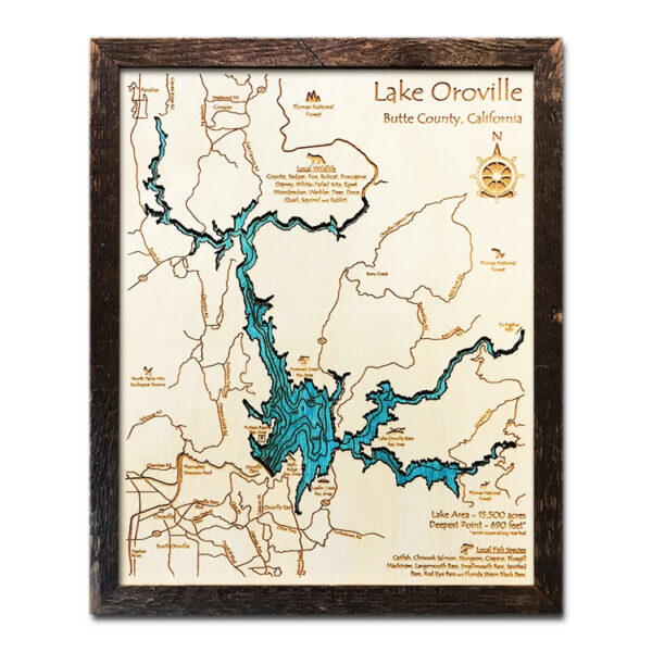Lake Oroville Wood Map