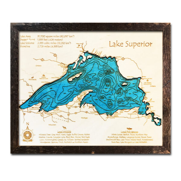 single-depth Lake Superior Wood Map