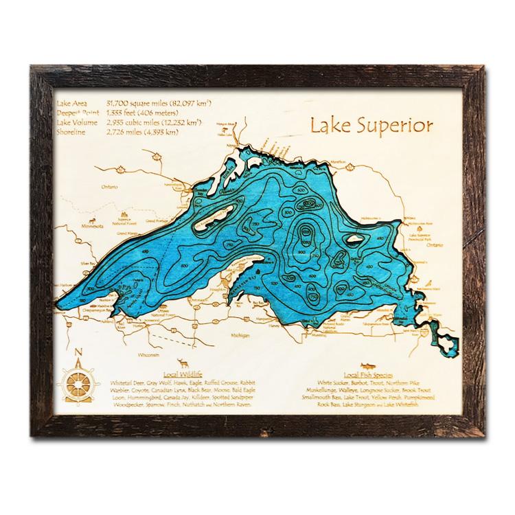 single-depth Lake Superior Wood Map