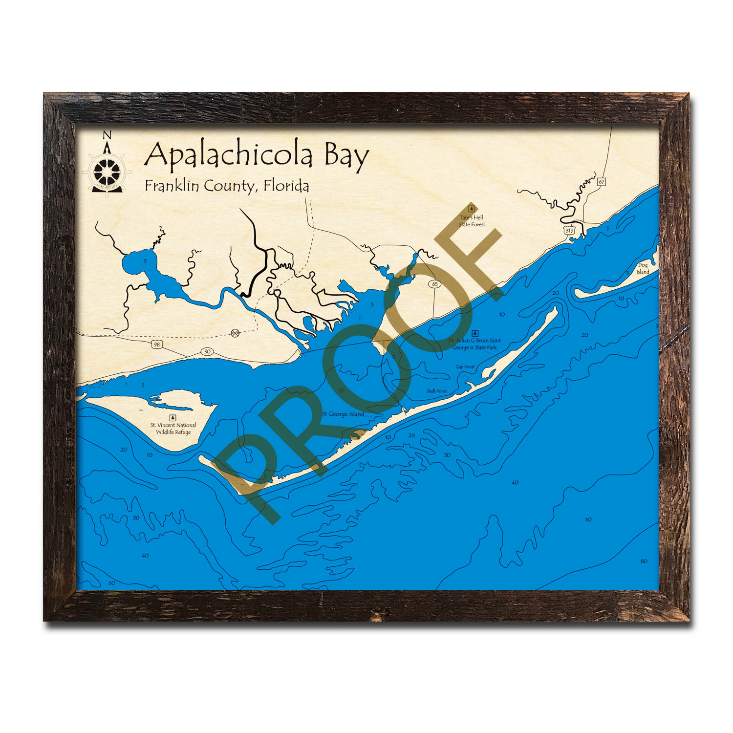 Apalachicola Bay, Florida 3d Wooden Map