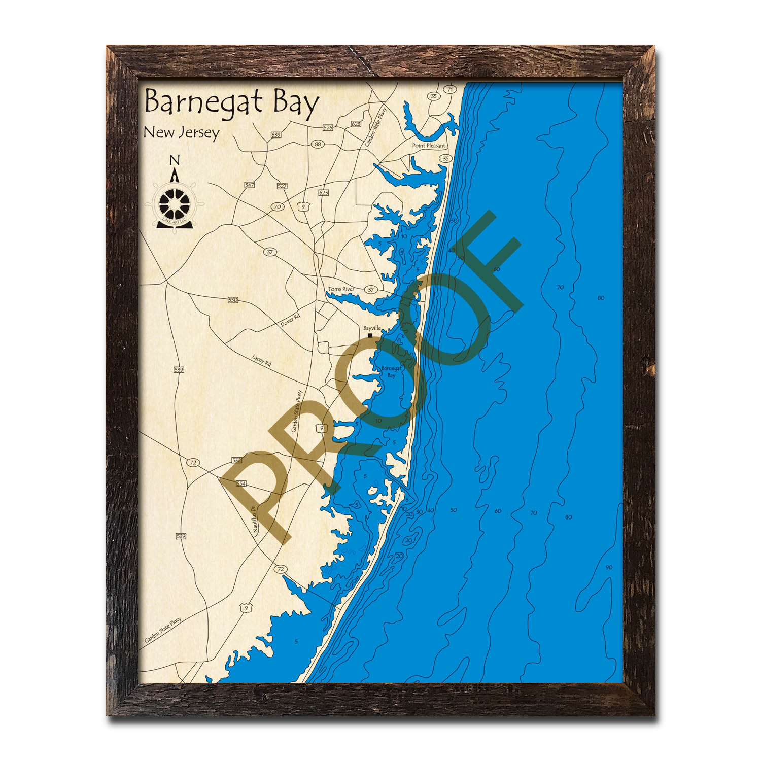 New Jersey Shore Wood Map Barnegat Bay