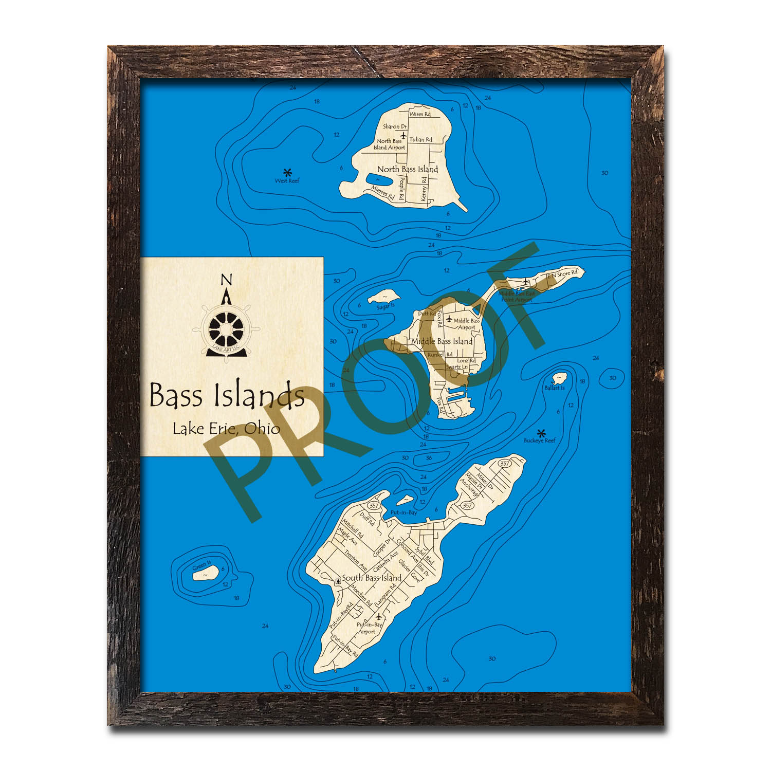 Bass Islands in Lake Erie Wooden Map