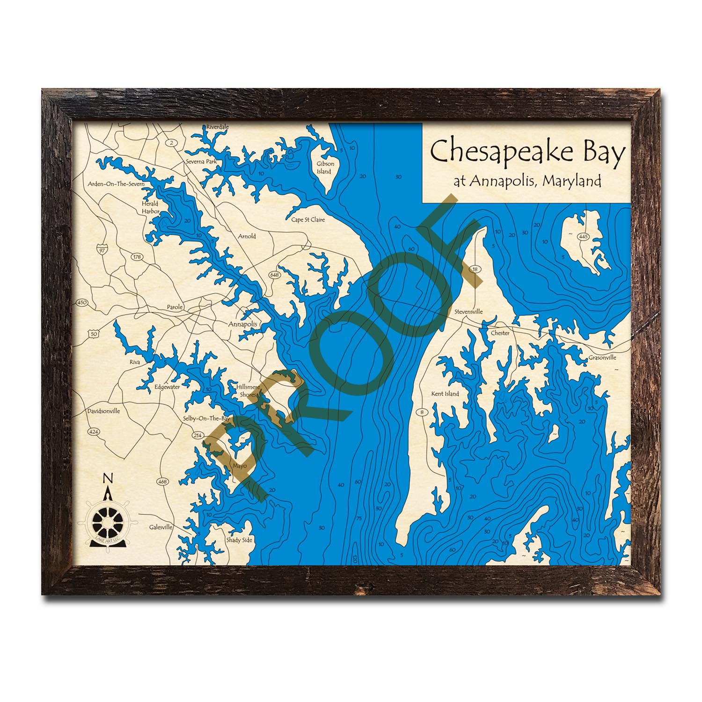 Chesapeake Bay (Annapolis Region), MD Nautical Wood Maps