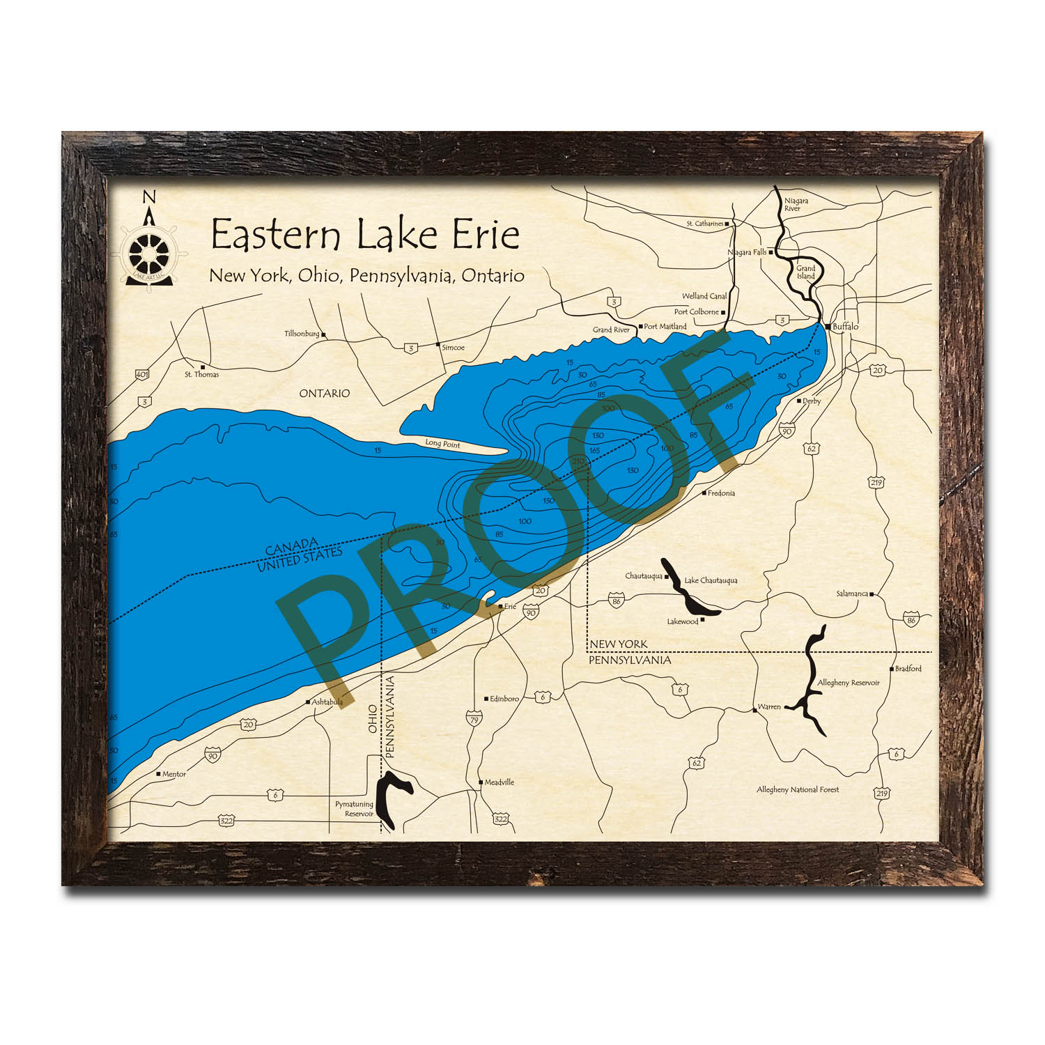 Eastern Lake Erie Wood Map