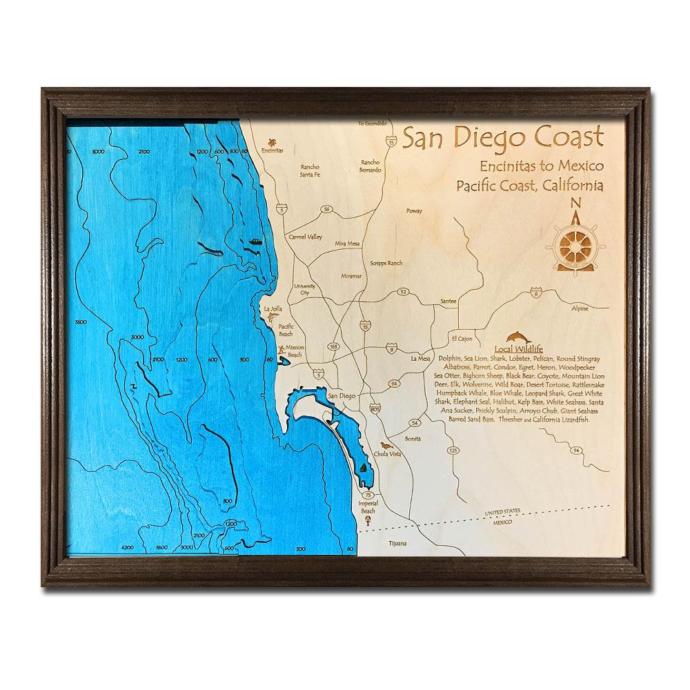 San Diego Coastline Map Framed Nautical Home D 233 Cor