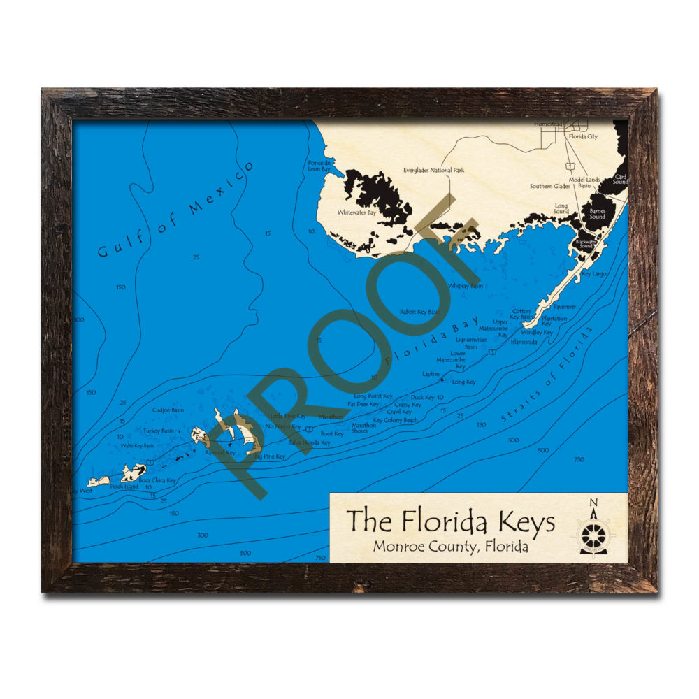Map Of Florida And Florida Keys.Florida Keys Fl 3d Nautical Wood Map 16 X 20