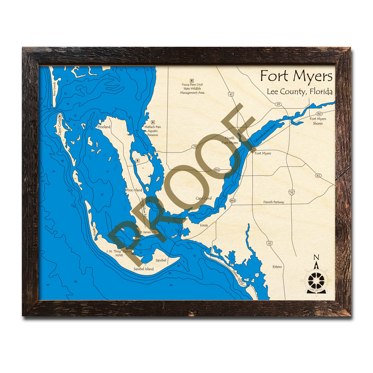 Fort Myers (with Sanibel and Pine Islands), FL Nautical Wood Maps