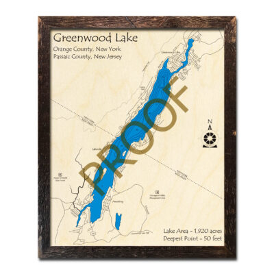 New York New Jersey Wood Map of Greenwood Lake