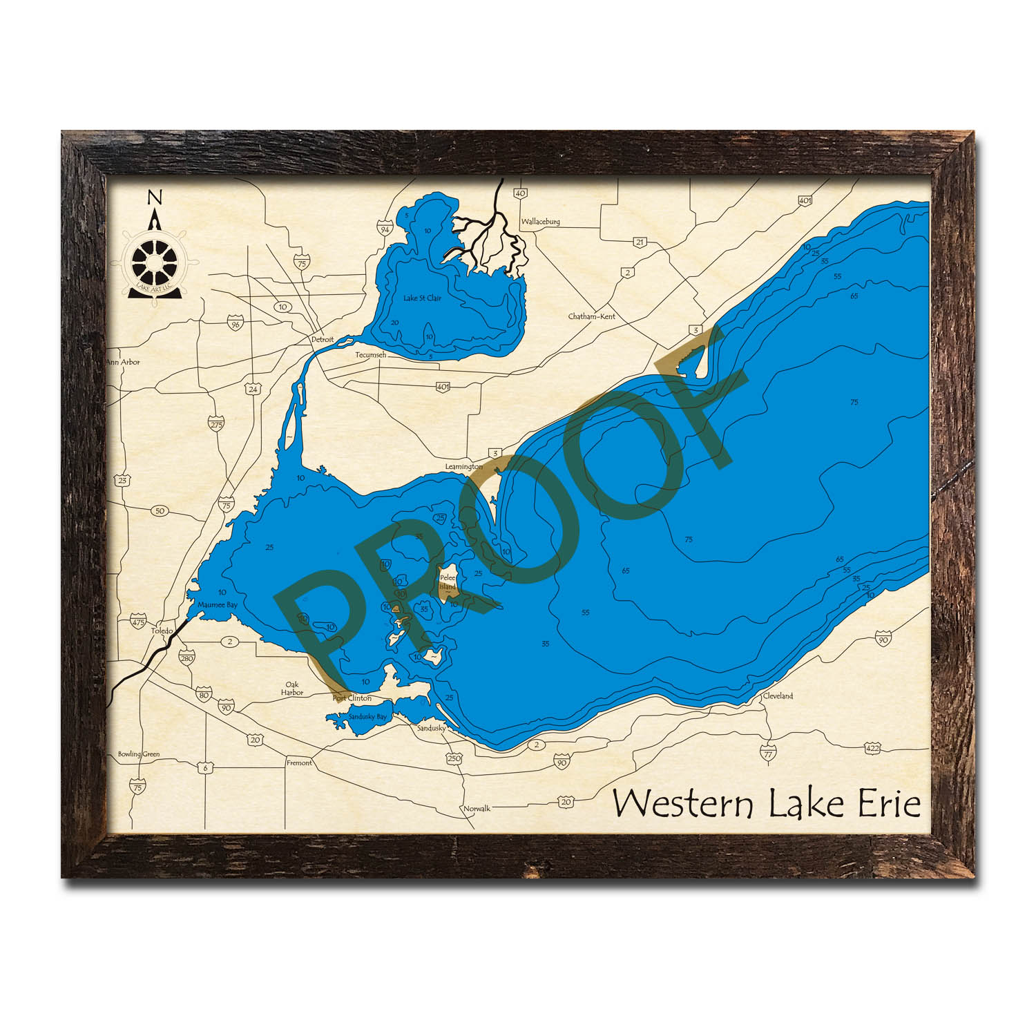 Western Lake Erie 3d wood map