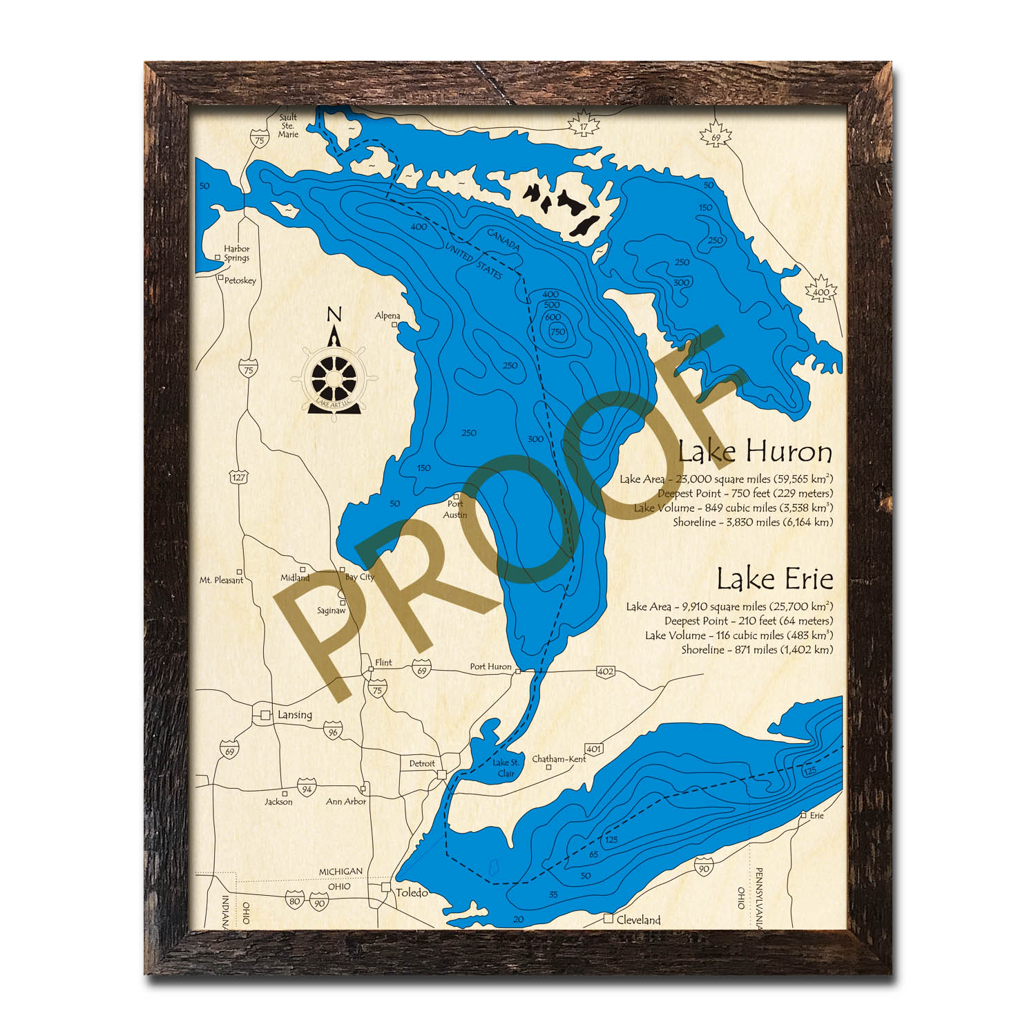 Lake Huron Lake Erie Wood Map