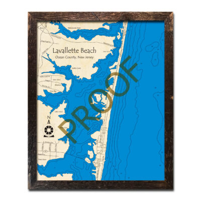 Jersey Shore Lavallette Gift Wood map