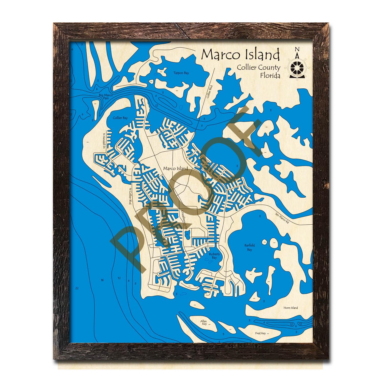 Marco Island, FL Nautical Wood Maps