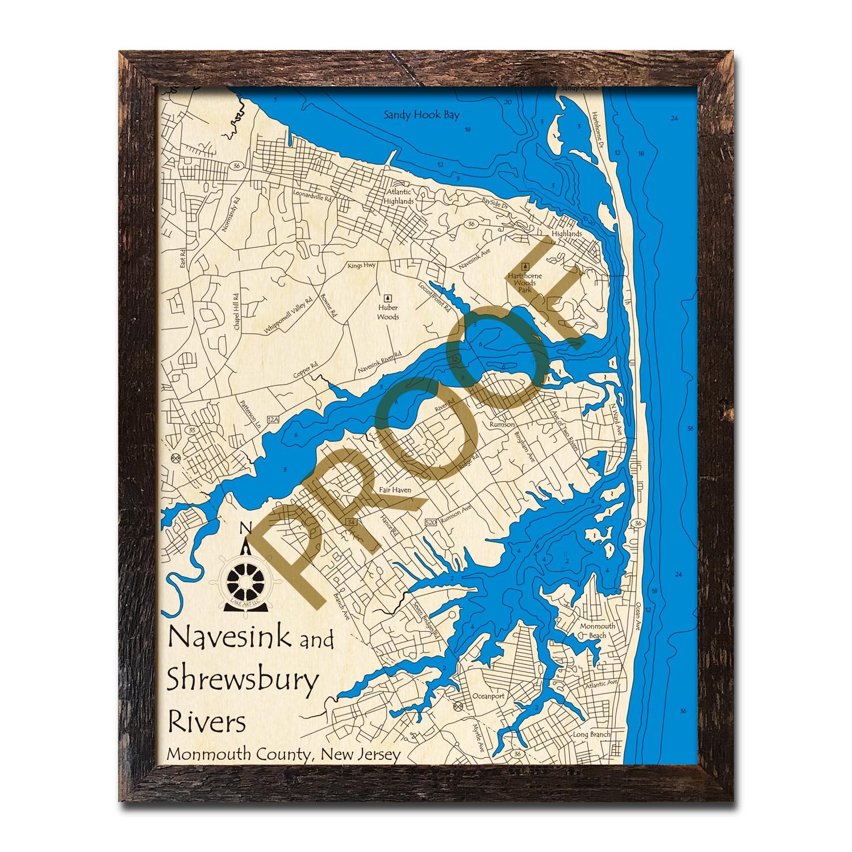 Jersey Shore 3D Wood Map Sandy Hook Sea Bright Asbury Park