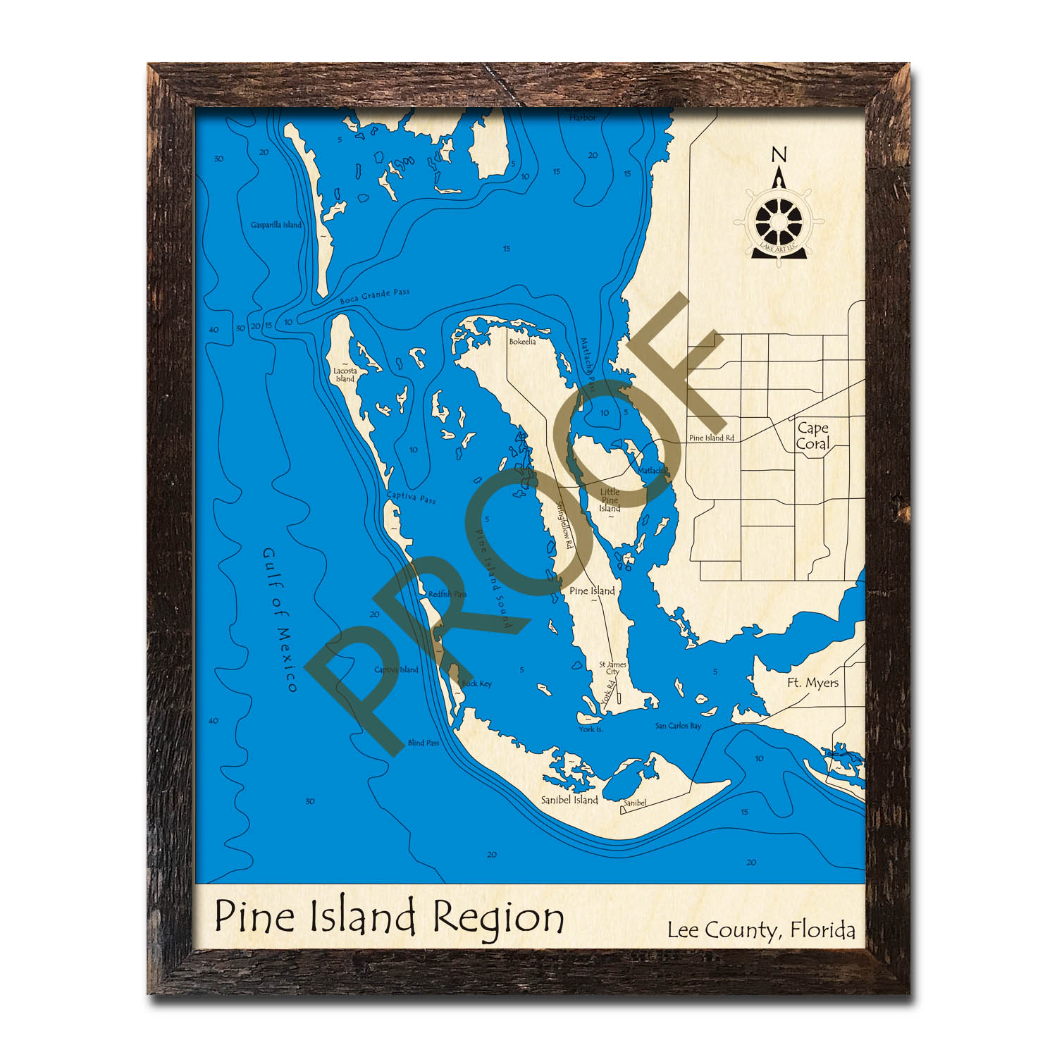 Pine Island Region, FL Nautical Wood Maps