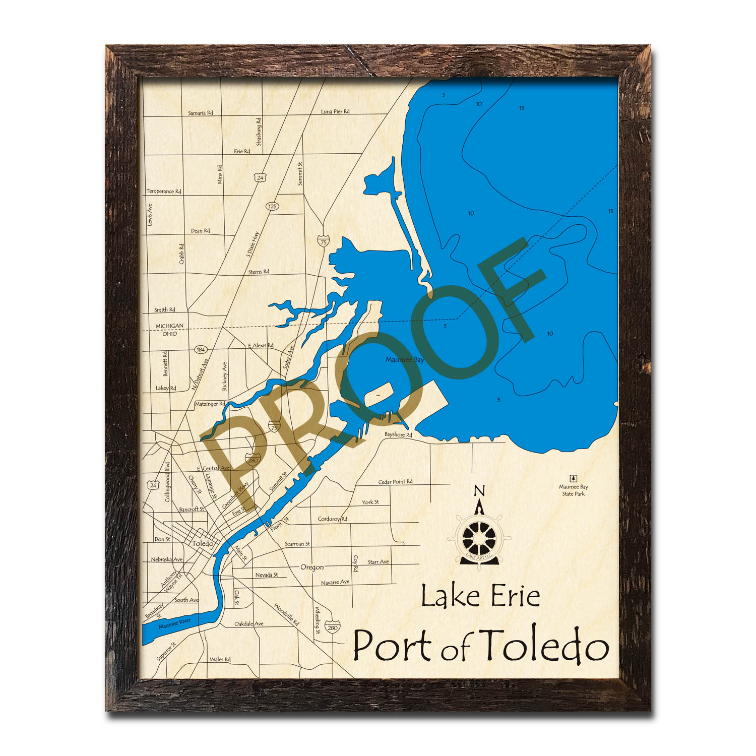 Port of Toledo, Lake Erie Wood Map