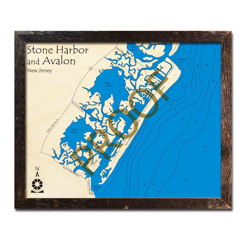 Stone Harbor Nj Elevation Map : Stone harbor nj nautical wood maps