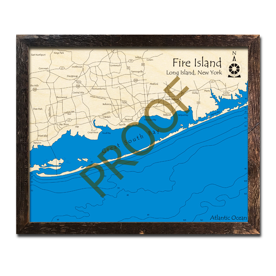 Fire Island Ny: Fire Island, NY 3D Wood Maps, Laser-etched Nautical Decor