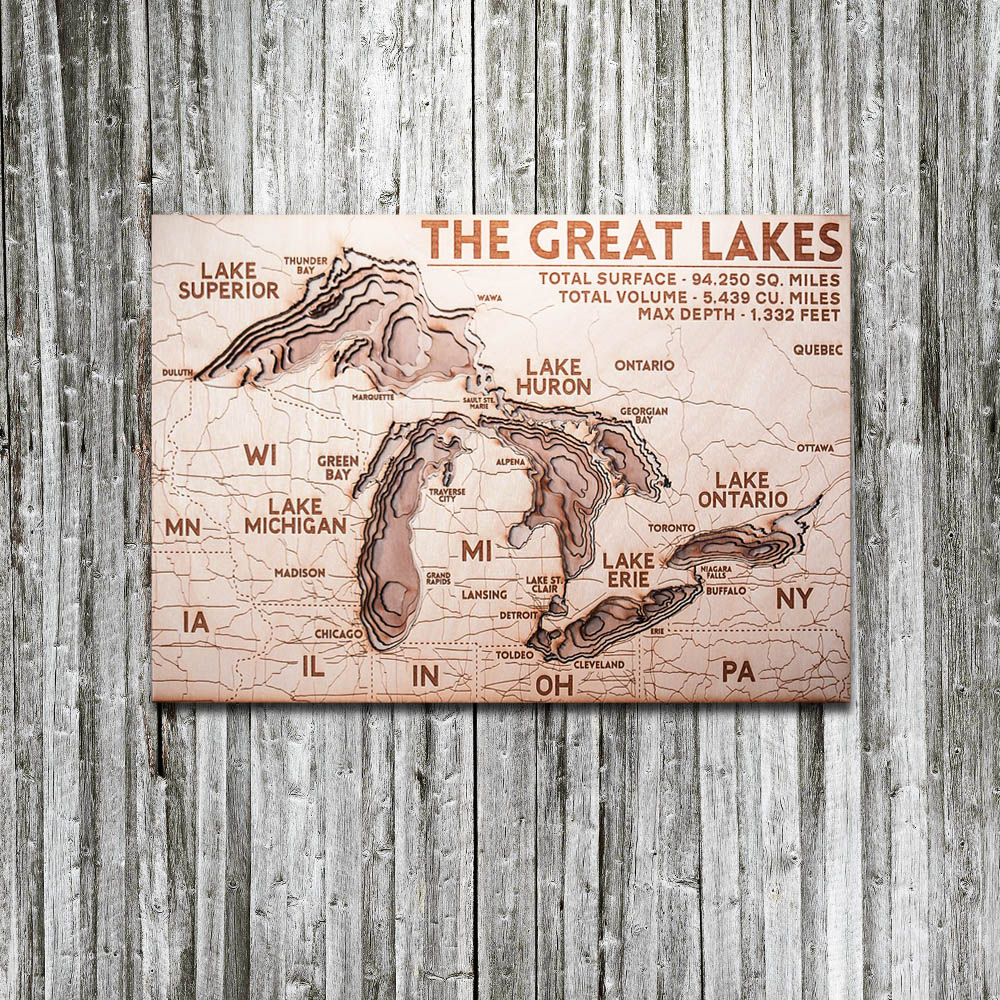 Great Lakes 3D Wood Map, Unique Gifts for Fisherman