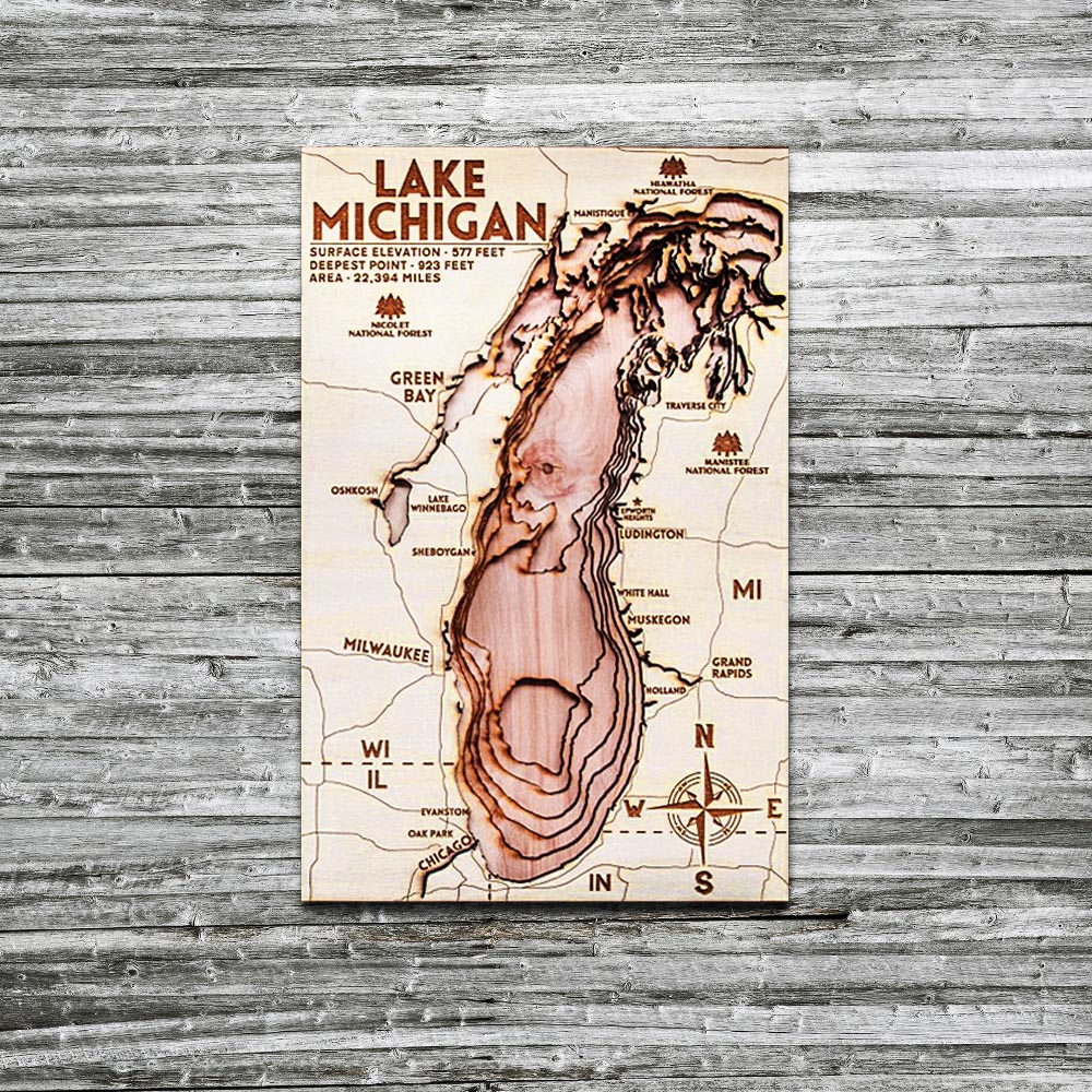 Lake Michigan 3D Wood Map, Cabin Decor