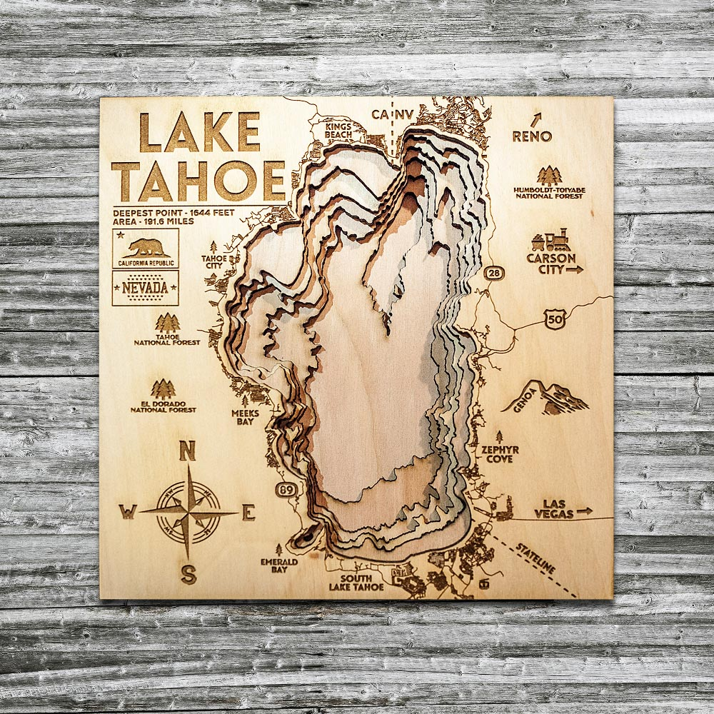 Lake Tahoe Map, Lake Tahoe 3D Wood Map, Nautical Decor