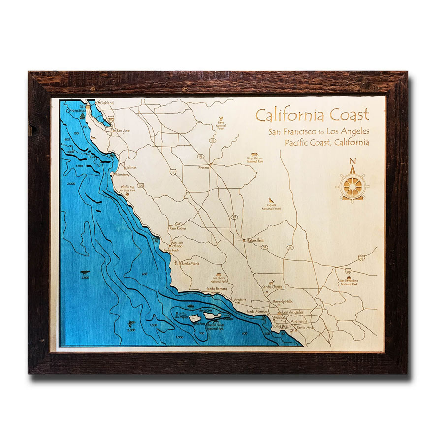 "san francisco to los angeles coastline, ca 3d wood map, barnwood frame, 14""  x 18"""