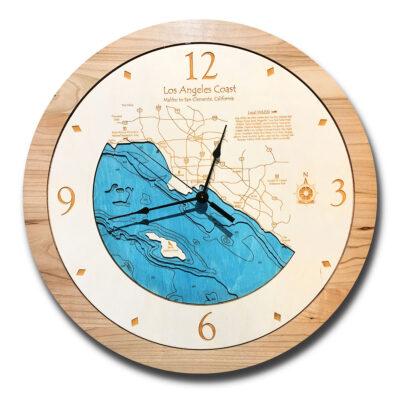 Los Angeles Coast Wood Clock