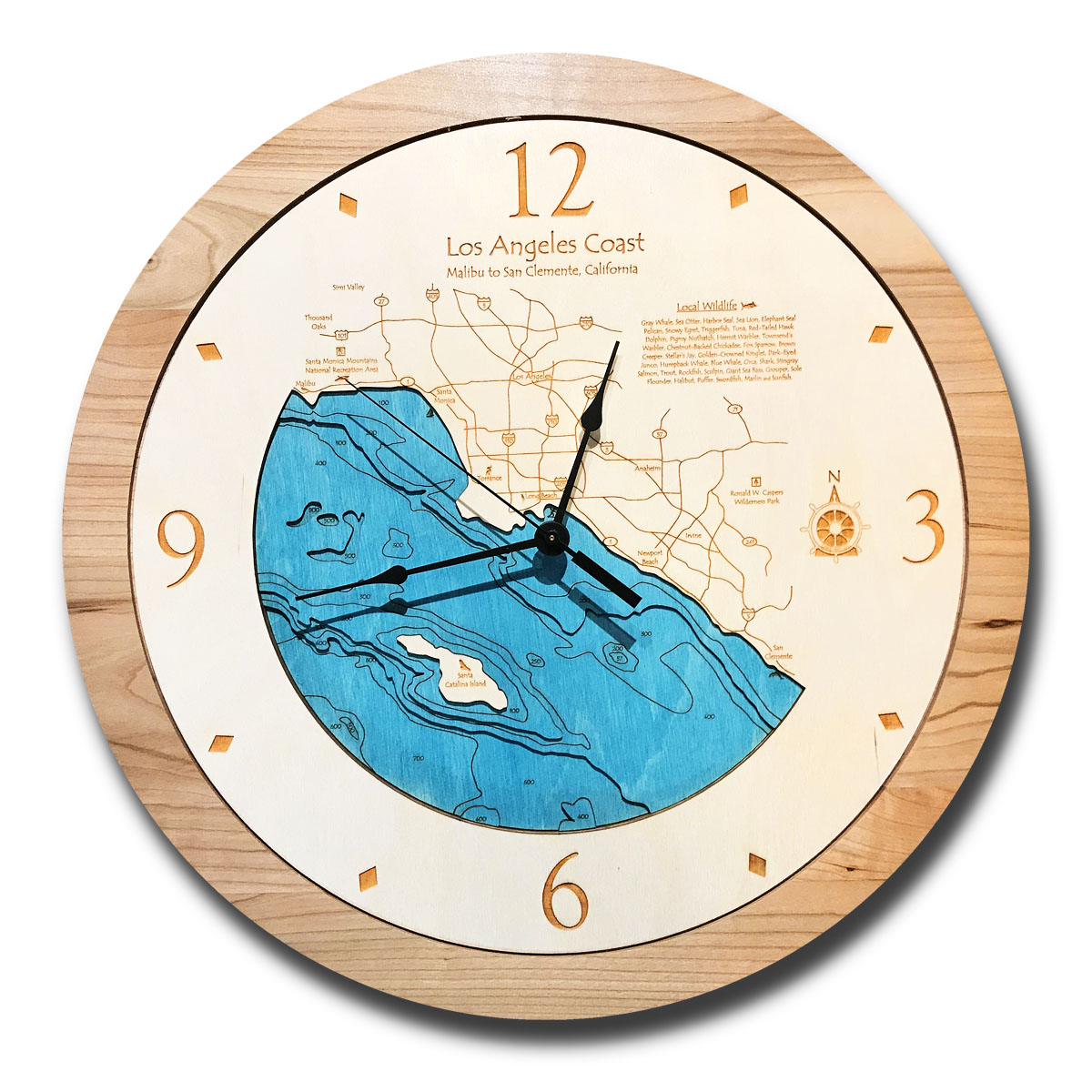 Los Angeles Coast Wood Clock