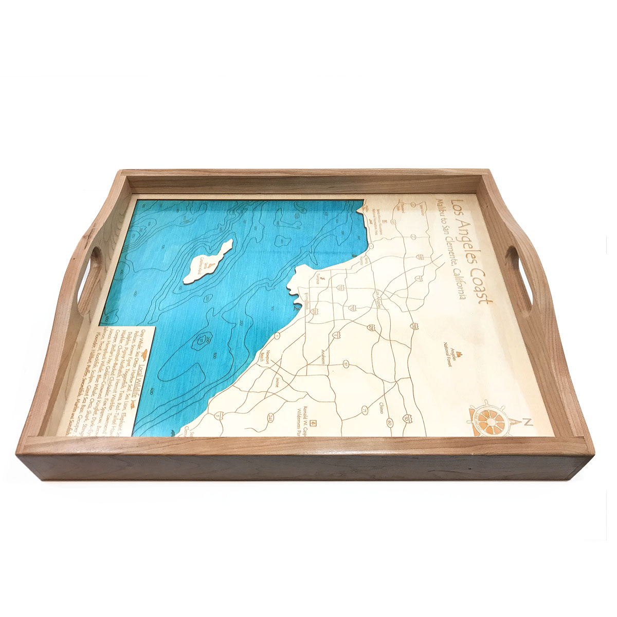 Los angeles wood map serving tray for Used lumber los angeles