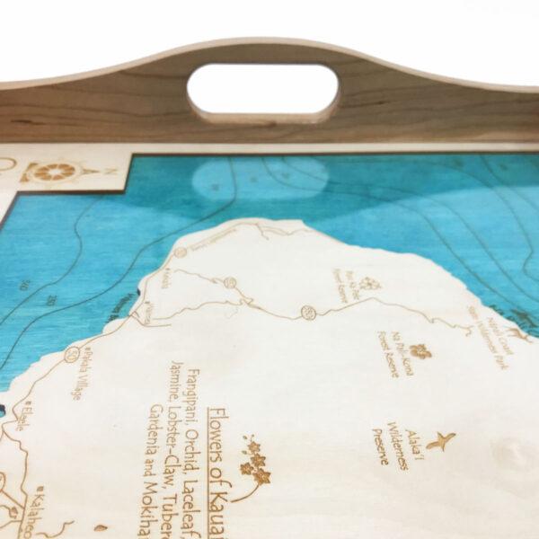 Kauai Wood Map Serving Tray