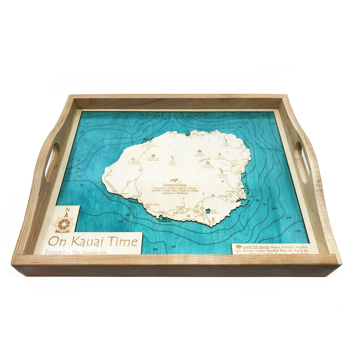 kauai nautical wood serving tray